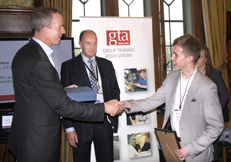 GTA England Apprentice of the Year Bobby Duff receiving his award
